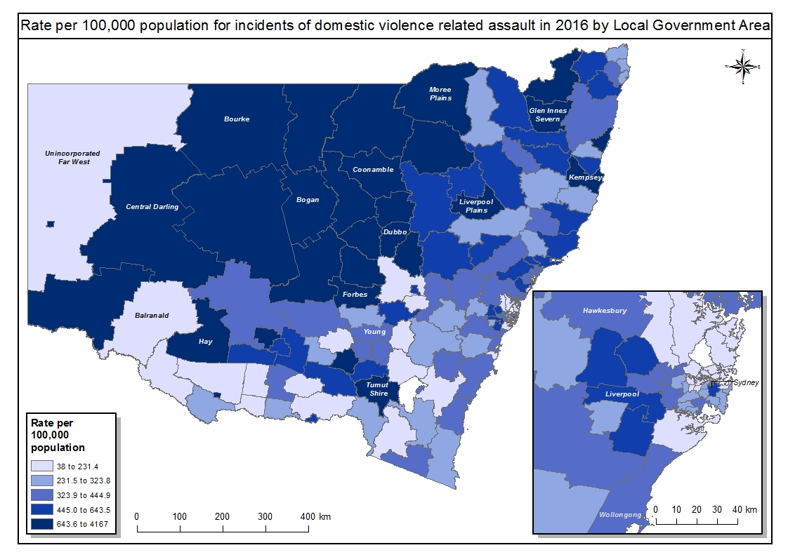 Domestic violence related assault by LGA 2016